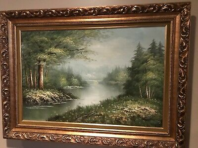 Antonio Tomo Oil painting on canvas of river and forest scene
