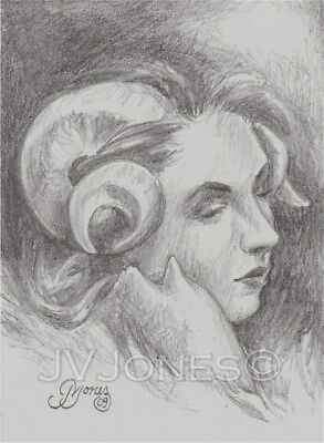 "Original Fantasy Aceo ""solemnity"" Satyr Graphite Drawing"
