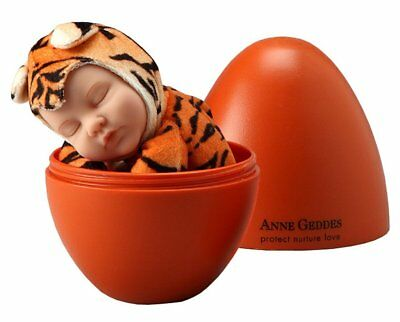 NEW Anne Geddes 9in Plush Tiger Sleeping Baby Doll In Orange Egg