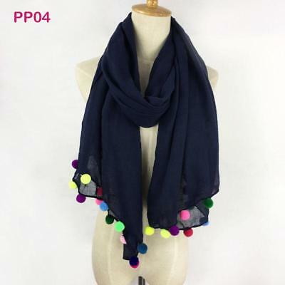 Fashion Scarf Poms Polyester Scarves Solid Shawl Cotton Novelty For Women Adult