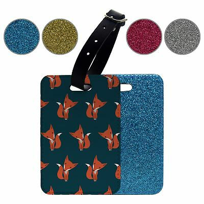 Foxes Cute Red Pattern Glitter Luggage Suitcase Tag - S958