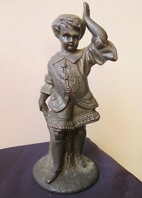 Rare ANTIQUE old early 1900's Child Figural Copper VICTORIAN gas light LAMP BASE