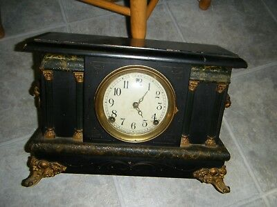 Antique Sessions Column Black Mantel Clock   ( Parts Or Repair )