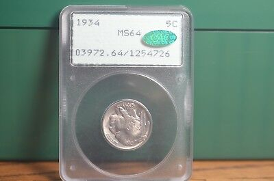 "1934-P Buffalo Nickel Pcgs ""rattler"" Ms64 #726 Cac"