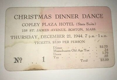 December 1944 Christmas Dinner Dance Ticket No. 1 Copley Plaza Hotel Boston MA