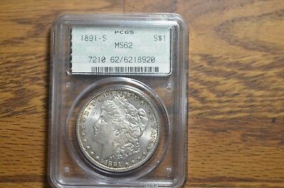 1891-S Morgan Silver Dollar PCGS MS62 #920 -  DOILY HOLDER!!! / SEE PICS