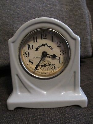 Westinghouse 1920 working kitchen clock enameled over iron with alarm