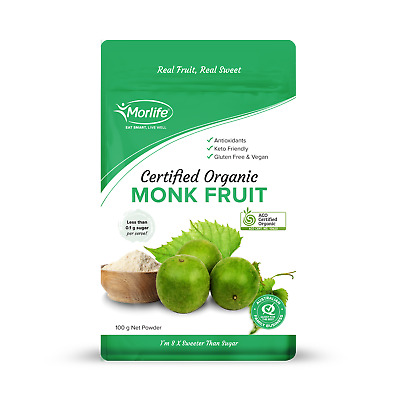 Morlife Monk Fruit Powder 100g | Natural Fruit Sweetener | Vegan