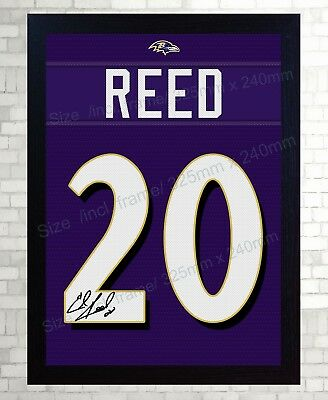 ED REED BALTIMORE Ravens NFL signed Jersey t-shirt Canvas 100 ...