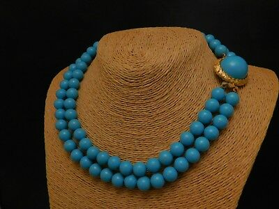 Vintage Robin's Egg Turquoise Blue Beaded Necklace Earrings Set Cabochon Clasp