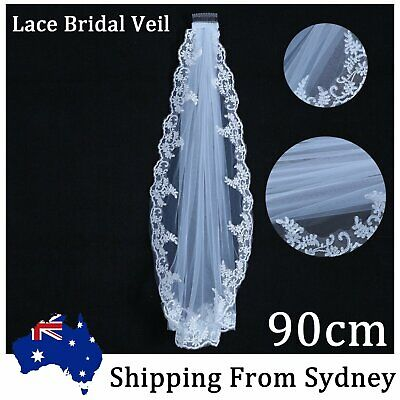 90cm Lace White Length Edge Wedding  Bridal Long Veil With Comb Cathedral Party