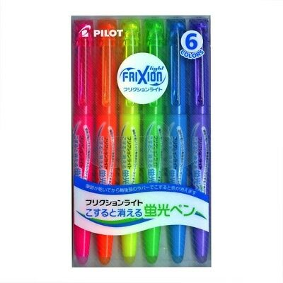 Pilot Highlighter Frixion Light  erasable pen 6 Color Set FREE SHIP from Japan