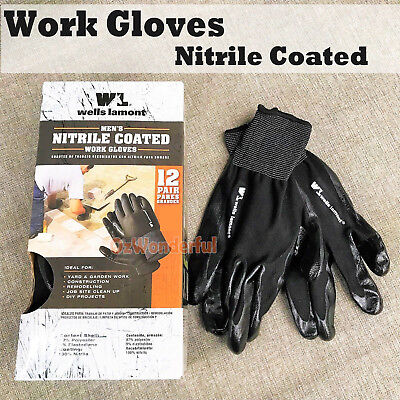 XL Work Gloves Nitrile Coated General Purpose Garden Hand Protection Nitril