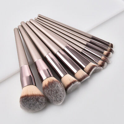 10pcs Professional Makeup Brushes Set Powder Blush Eyeshadow Lip Brush Kit Tools