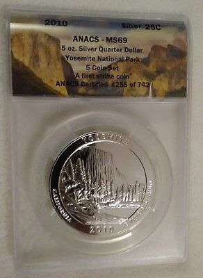 2010 ATB 5 oz Silver Quarter 25c Yosemite ANACS MS69 First Strike