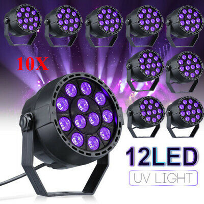 10x 12W UV LED Black Light Par Light DMX Stage Strobe Light DJ Disco Wall Washer