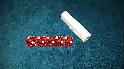 Five Official Casino Dice Craps Table Games used lot of 5 Red