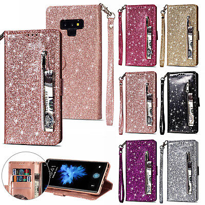 For Samsung Galaxy Note 9 Leather Wallet Glitter Bling Zipper Stand Case Cover