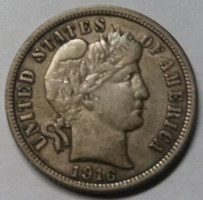 1916 Barber Dime US Coin