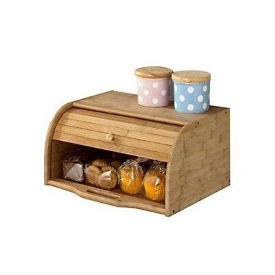 Bread Box Kitchen Food Storage-Natural Wooden Roll Top  (Bamboo)