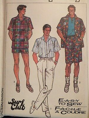 Easy VTG 87 SIMPLICITY 7990 Mens Shirts Pants & Shorts PATTERN S-M-L-XL UC