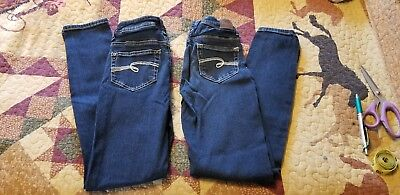 2 Pairs Girls Justice Jeans Sz 12S