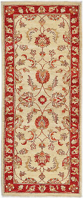 Traditional Handmade Chobi Runner Area Rug Red/Beige Oriental Rug Size (2.5 x 7)