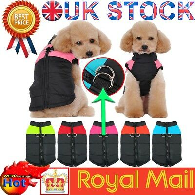 Waterproof Pet Dog Clothes Autumn Winter Warm Padded Coat Vest Jacket Apparel UK