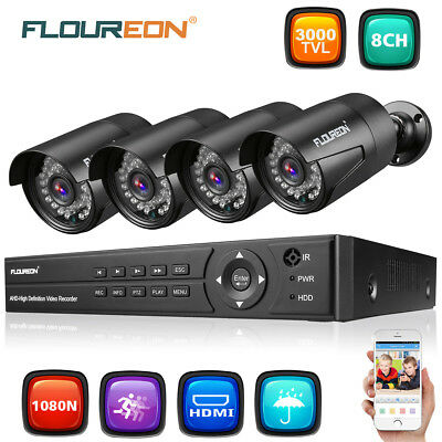 FLOUREON 1 X 8CH 1080P AHD DVR + 4 X Outdoor 3000TVL 2.0MP Security Camera Kit