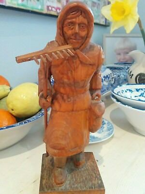 Vintage antique hand carved German peasant woman figurine1930