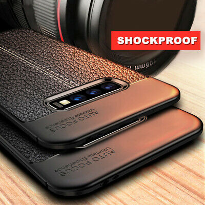 For Samsung Galaxy S10 Plus S9 S8 S7 S6 Edge S5 Soft Silicone Leather Grain Case