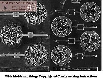 Snowflakes Lolly chocolate candy mould with © Moulding Instruction - set of 2