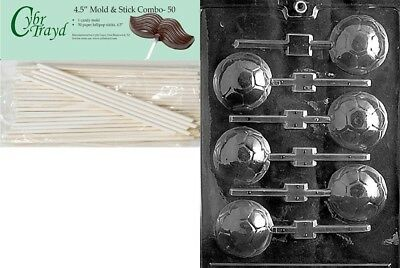 Cybrtrayd 45St50-S019 Soccer Ball Lolly Sports Chocolate Candy Mould with