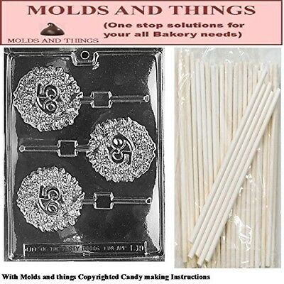 65TH Lolly numbers and letters Chocolate candy mould © Moulding Instruction+