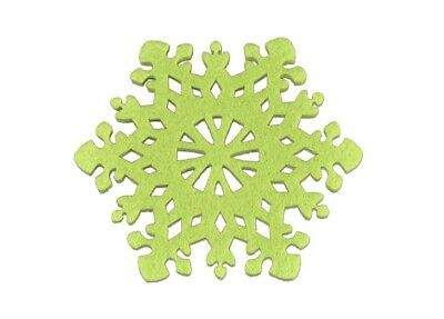 (Green) - Flower Colouful Cup Mat- Set of 6 - Hollow Out - Non-woven Material-