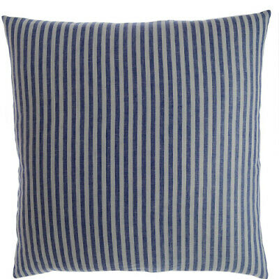 Luxury Linen Damask Navy Blue and White Striped 24x24 Large Square Pillow