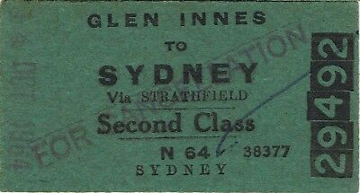 Railway tickets a trip from Glen Innes to Sydney by the old NSWGR in 1964