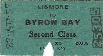 Railway tickets a trip from Lismore to Byron Bay by the old NSWGR in 1957
