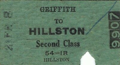 Railway tickets a trip from Griffith to Hillston by the old NSWGR in 19?8