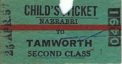 Railway tickets a trip from Narrabri to Tamworth by the old NSWGR in 1957