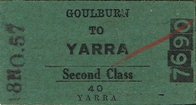 Railway tickets a trip from Goulburn to Yarra by the old NSWGR in 1957