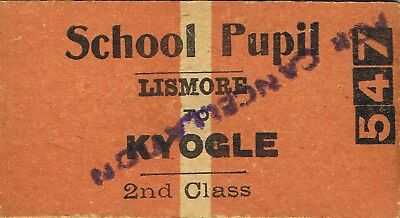 Railway tickets a trip from Lismore to Kyogle by the old NSWGR
