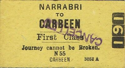 Railway tickets a trip from the Narrabri to Carbeen by the old NSWGR