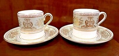 Pair of Wedgwood Bone China Coffee Cans & Saucers - Gold Columbia Green VGC