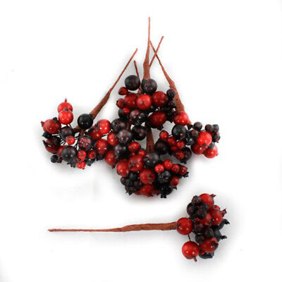 Artificial Berries red Burgundy Pack of 8 berry picks with 192 berries