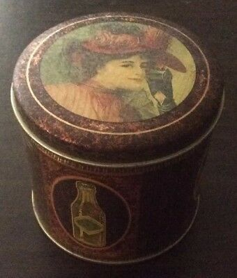 Vintage Round Coca Cola Tin Canister Used Good