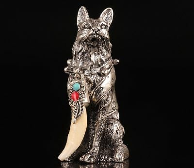Figurine Silver Plating Hand Casting Wolf Statue Animal Tooth Pendant Exorcism