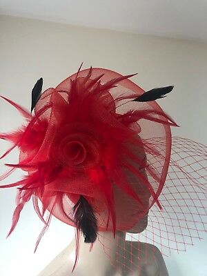 Bright Red Black Feather Clip Fascinator Wedding Ladies Race Day Accessories