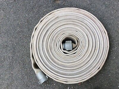 "75 Foot Vintage 1 1/2"" Fire Hose With Aluminum Fittings In Good Condition"