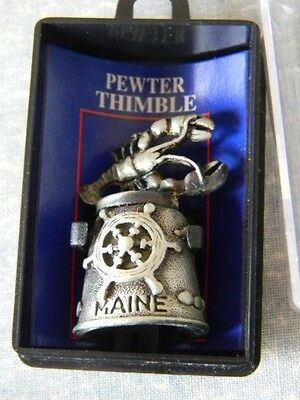 Pewter Thimble Souvenir - STATE OF MAINE - LOBSTER ON TOP -  MIB